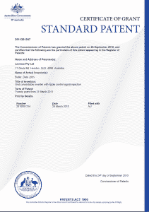 Example of Certificate of Grant for Standard Australian Patent