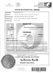 Mexican Patent Certificate
