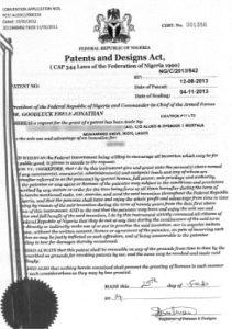 Nigerian Patent Certificate