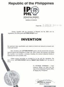 Philippines Patent Certificate