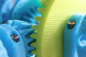 3D printed Brightly coloured cogs (and metal screws)