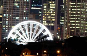 View of ferris wheel from afar at night