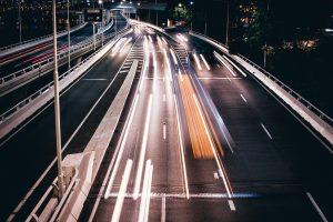 Riverside expressway at night, blurred/timelapse