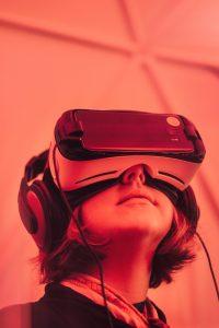 Girl wearing virtual reality headset