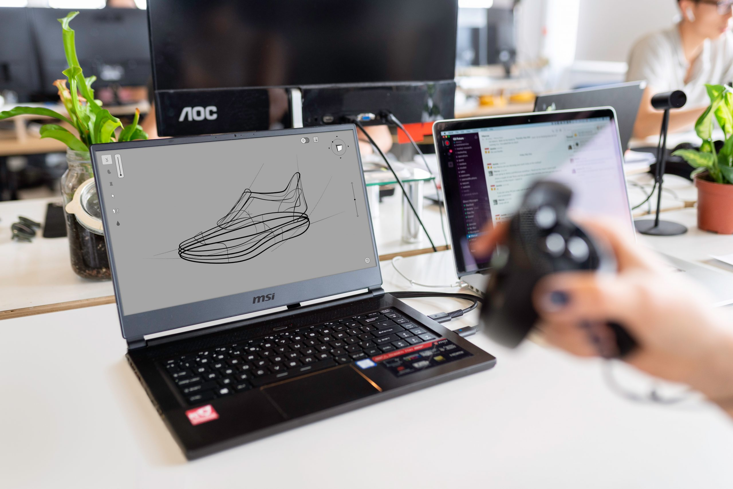 laptop with shoe design technical drawing