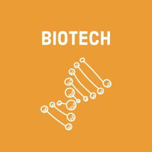 white dna symbol (for biotechnology) on orange background