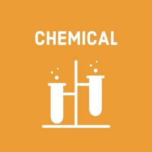 white chemistry test tube symbols (for chemicals) on orange background