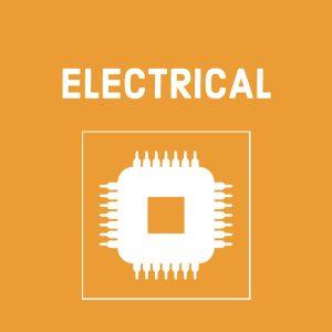 white electronic symbol (for elecrical) on orange background