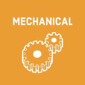 white gear symbols (for mechanical engineering) on orange background