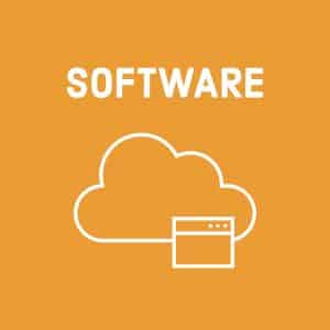 white file and cloud symbols (for software) on orange background
