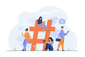 Tiny people near hashtag for social media