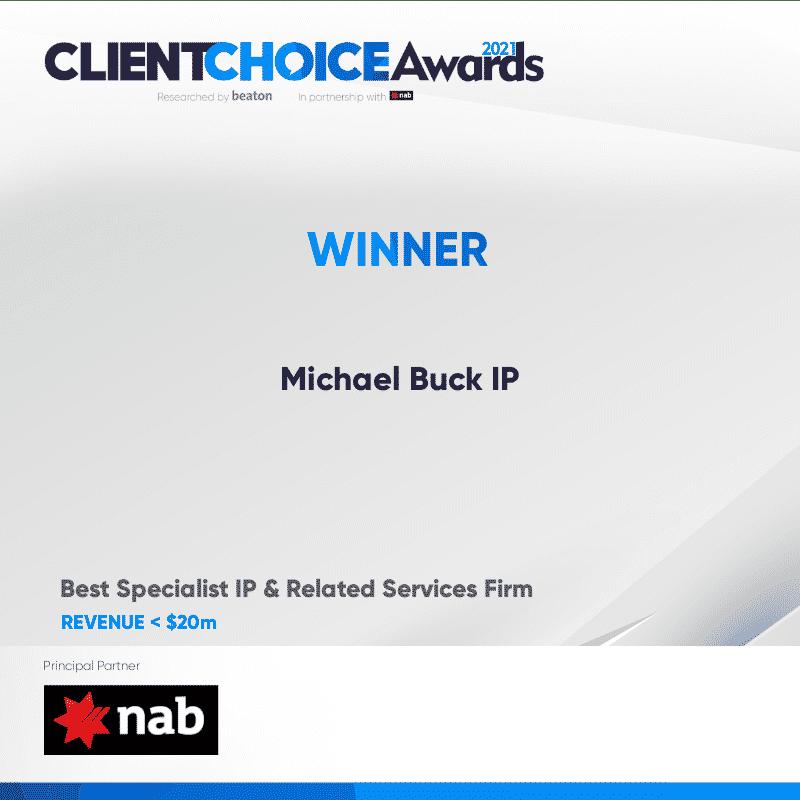 Beaton client choice award winners certificate 2021 Michael Buck IP