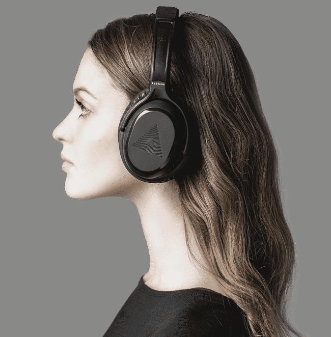 Profile shot of woman wearing headphones